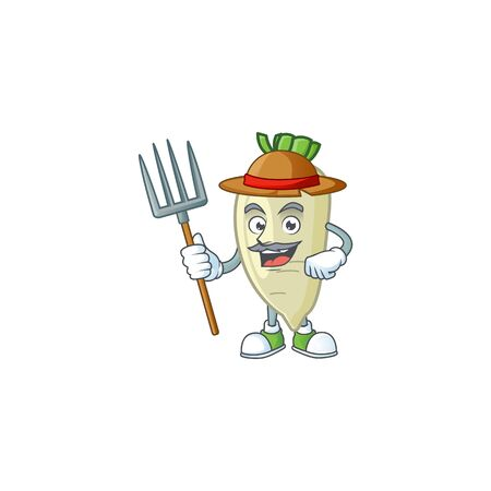 Happy Farmer white radish cartoon mascot with hat and tools. Vector illustration