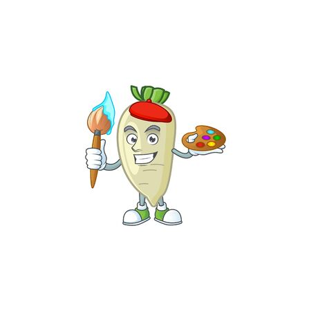 Happy white radish painter cartoon icon with brush. Vector illustration