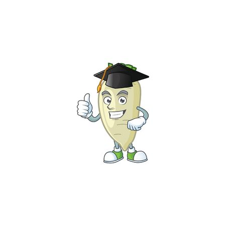 Happy white radish wearing a black Graduation hat. Vector illustration