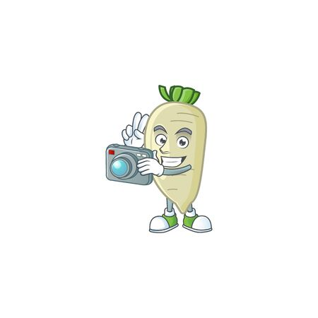 Smart Photographer white radish cartoon mascot with a camera. Vector illustration