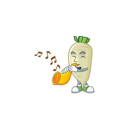 Cheerful white radish cartoon character performance with trumpet. Vector illustration