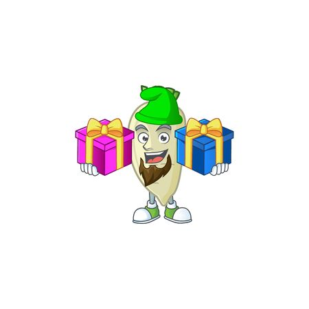 Cheerful white radish cartoon design with Christmas gift boxes