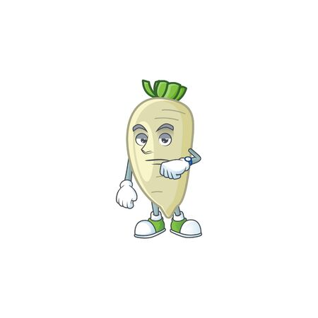 Picture of waiting white radish on cartoon mascot style design. Vector illustration
