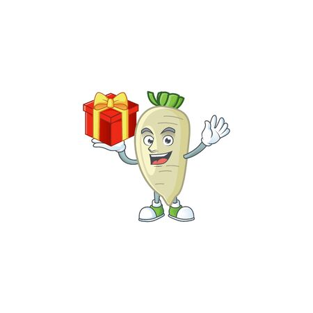 White radish cartoon character with a box of gift  イラスト・ベクター素材