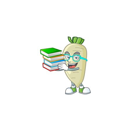 Student with book white radish on mascot cartoon character style