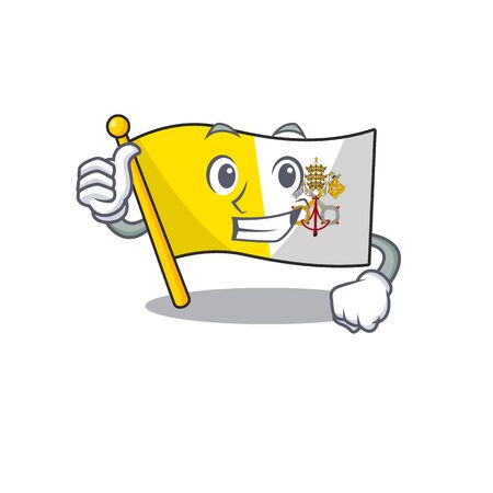 Smiley mascot of flag vatican city Scroll making Thumbs up gesture. Vector illustration