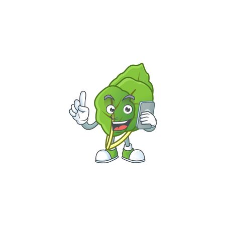 Mascot design of collard greens speaking on the phone Illustration