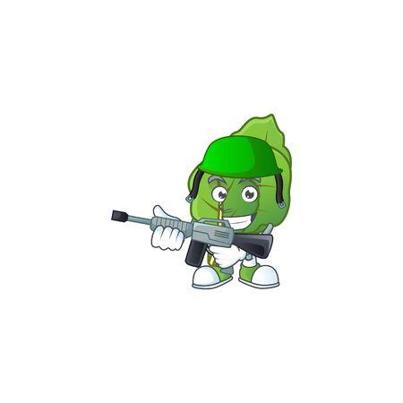 A mascot of collard greens as an Army with machine gun Illustration