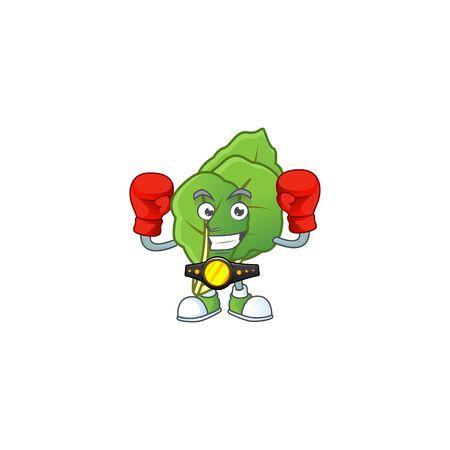Funny Face Boxing collard greens cartoon character design