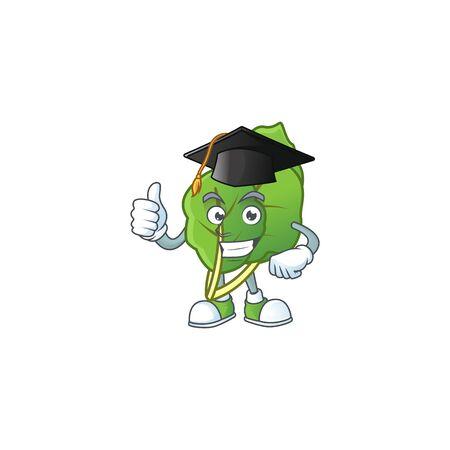 Happy collard greens wearing a black Graduation hat Stock Illustratie