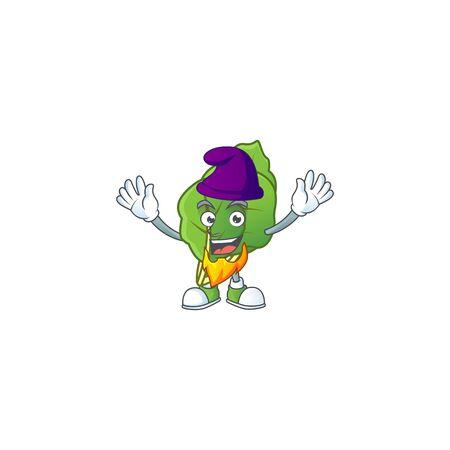 Collard greens mascot cartoon style as an Elf