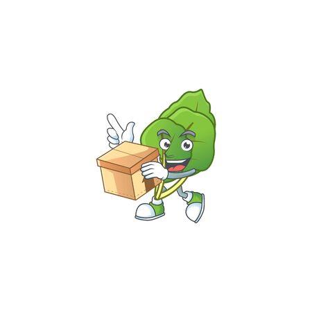 Cute collard greens cartoon character style holding a box. Vector illustration