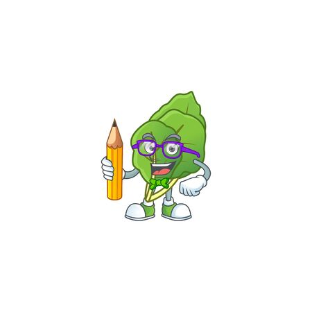 Cool smart Student collard greens mascot with a pencil