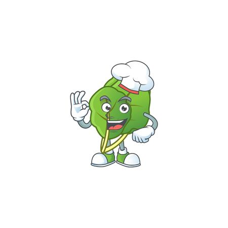 Smiley Face chef collard greens character with white hat