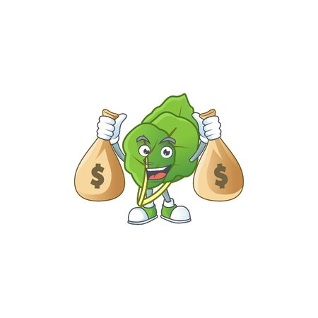 Happy collard greens cartoon character with two money bags. Vector illustration