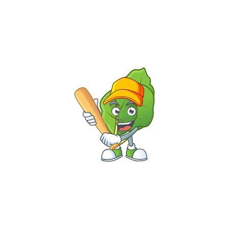 Funny smiling collard greens cartoon mascot with baseball