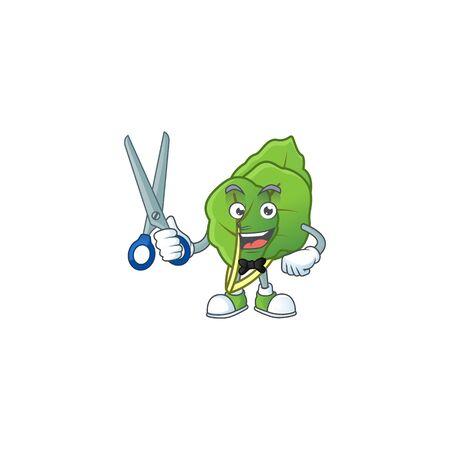 Smiley barber collard greens mascot cartoon character design Stock Illustratie