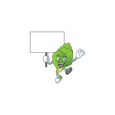 Collard greens cute cartoon character style bring board. Vector illustration