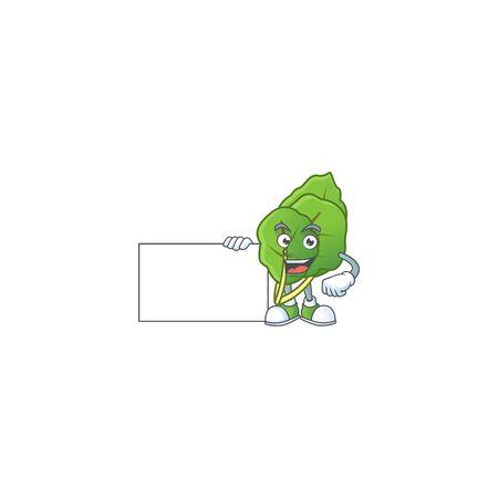 cute collard greens cartoon character with a board. Vector illustration