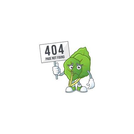 sad face cartoon character collard greens raised up a board Stock Illustratie