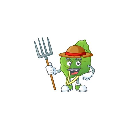 Happy Farmer collard greens cartoon mascot with hat and tools