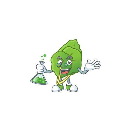Smart collard greens cartoon character holding glass tube Illustration