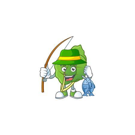 Cheerful face Fishing collard greens mascot design Illustration