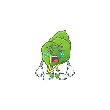 Sad Crying gesture collard greens cartoon character style. Vector illustration Illustration