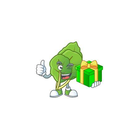 cartoon character of happy collard greens with gift box Stock Illustratie