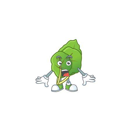 Surprised collard greens gesture on cartoon mascot design. Vector illustration Stock Illustratie