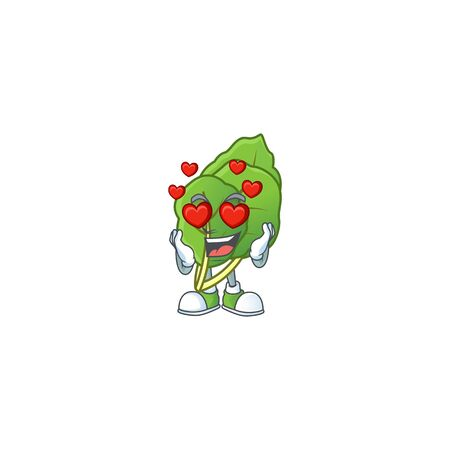 Super cute Falling in love collard greens cartoon character. Vector illustration