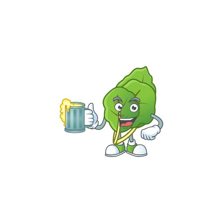 Happy face collard greens with a glass of beer. Vector illustration Illusztráció