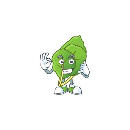 Call me cool collard greens cartoon character design. Vector illustration