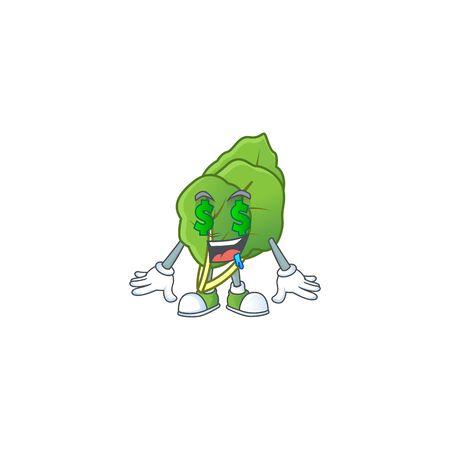 Cute collard greens with Money eye cartoon character design. Vector illustration Stock Illustratie