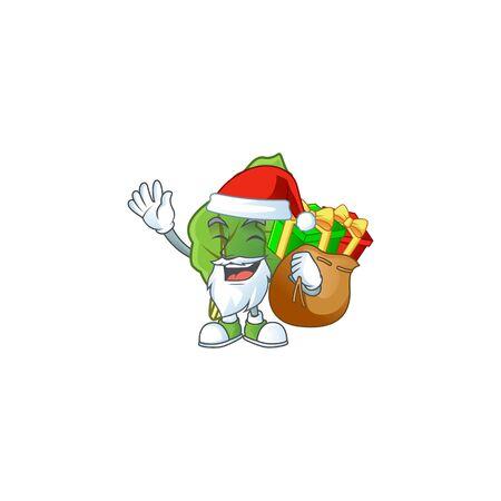 Santa Claus with gift bag collard greens Cartoon design. Vector illustration