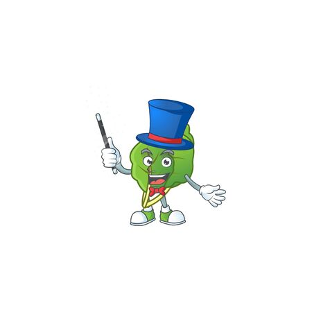 Cartoon character of collard greens performance as a Magician. Vector illustration