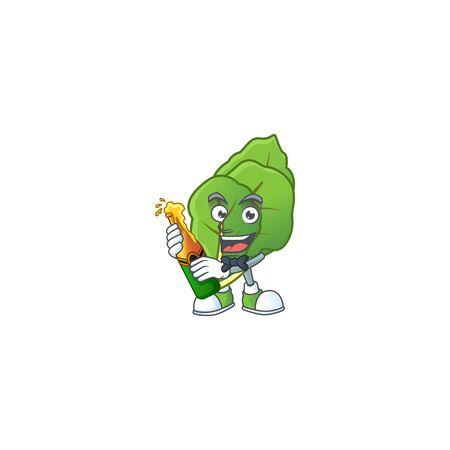 Happy collard greens with beer cartoon character design