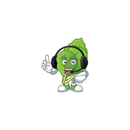 Collard greens cute cartoon character design with headphone