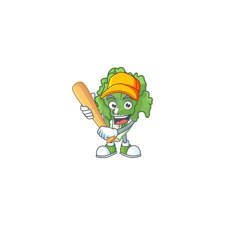 Funny smiling endive cartoon mascot with baseball