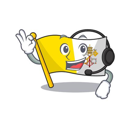 cute flag vatican city Scroll cartoon character design wearing headphone. Vector illustration
