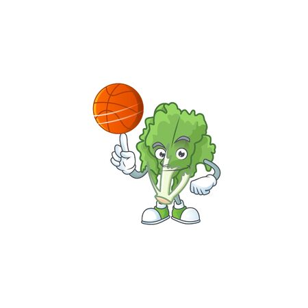 Happy face endive cartoon character playing basketball Stock Illustratie
