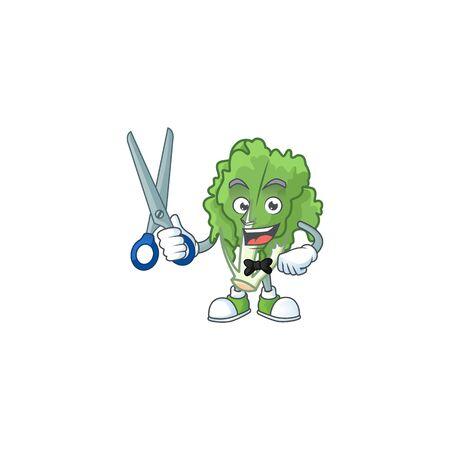 Smiley barber endive mascot cartoon character design