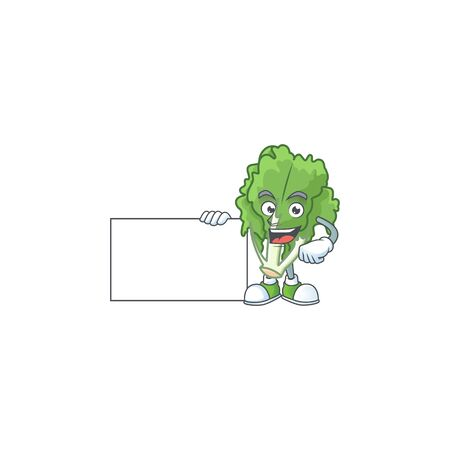 cute endive cartoon character with a board Stock Illustratie