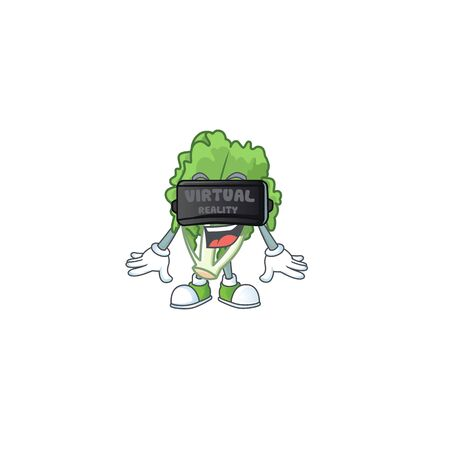 cool endive character with Virtual reality headset