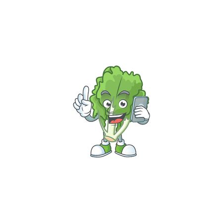 Mascot design of endive speaking on the phone