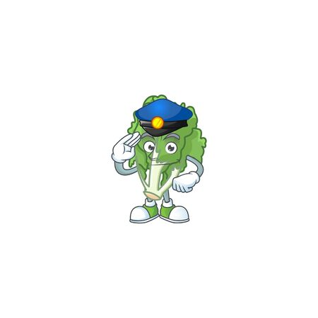 Endive Cartoon in character a Police officer costume