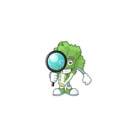 Smart One eye endive Detective cartoon character design Stock Illustratie