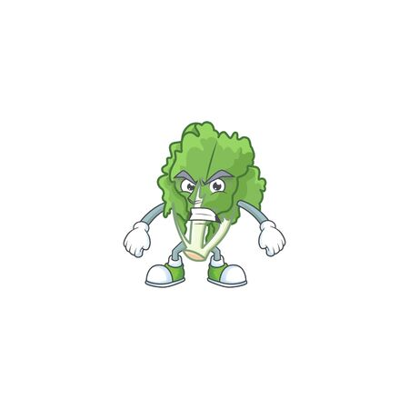 Picture of endive cartoon character with angry face