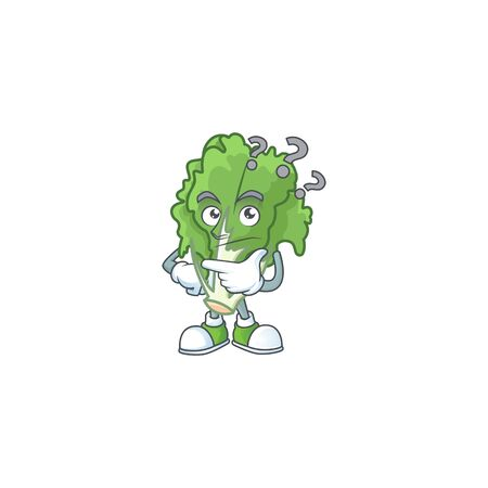cartoon character of endive with confuse gesture