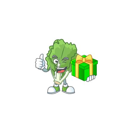 cartoon character of happy endive with gift box Stock Illustratie